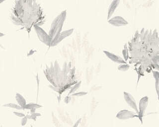 A.S. Création Wallpaper «Flowers, Cream, Grey, White» 344981