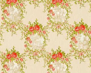A.S. Création Обои «Деревенский стиль, Цветы, Бежевые, Зеленые, Красные» 344991