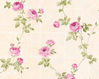 A.S. Création papier peint «Tuile, beige, rose, vert» 345014