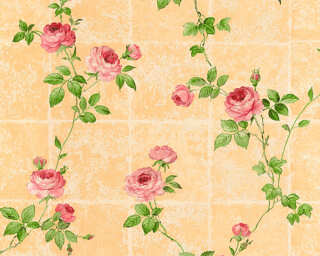 A.S. Création papier peint «Tuile, beige, rose, vert» 345016