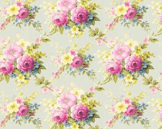 A.S. Création papier peint «Fleurs, multicolore, vert» 345083