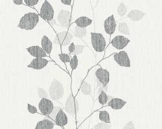 A.S. Création papier peint «Floral, blanc, gris, noir» 347614