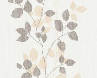 A.S. Création papier peint «Floral, beige, blanc, marron» 347615