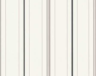 A.S. Création papier peint «Rayures, blanc, gris, noir» 347643