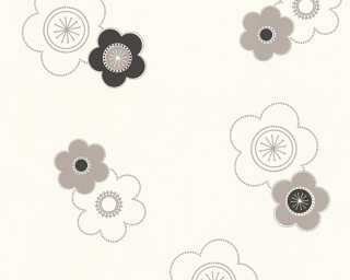 A.S. Création Wallpaper «Flowers, Black, Grey, White» 347673