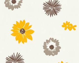 A.S. Création papier peint «Fleurs, blanc, jaune, marron» 347702
