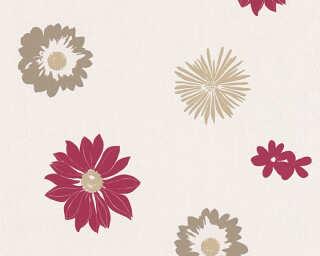 A.S. Création papier peint «Fleurs, crème, marron, rouge» 347703
