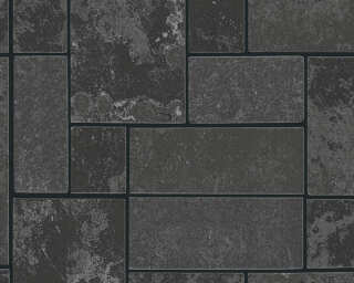 A.S. Création Wallpaper «Tile, Black, Metallic, Silver» 347793