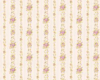 A.S. Création Tapete «Streifen, Blumen, Beige, Grün, Violett» 348012