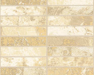 A.S. Création Wallpaper «Tile, Beige, Cream, Gold, Metallic» 348181