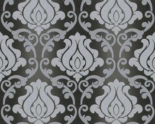 A.S. Création papier peint «Baroque, argent, gris, métallique, noir» 348604