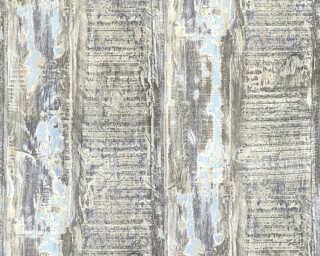 A.S. Création papier peint «Bois, Maison, beige, bleu, marron» 354132