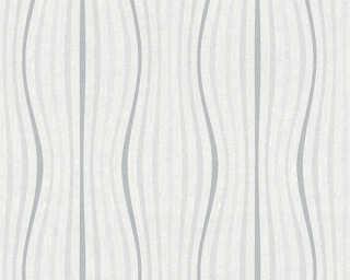 A.S. Création papier peint «Rayures, blanc, gris, métallique» 355971