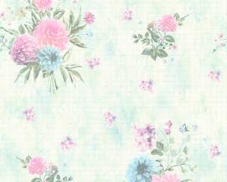 Djooz Tapete «Blumen, Bunt, Grün, Rosa» 358733