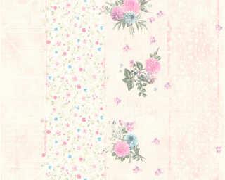 Djooz Wallpaper «Stripes, Flowers, Coloured, Pink» 358781