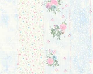 Djooz Tapete «Streifen, Blumen, Blau, Bunt, Metallics» 358782