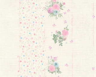 Djooz papier peint «Rayures, Fleurs, crème, multicolore, métallique» 358785