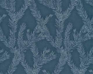 Private Walls Wallpaper «Graphics, Floral, Blue, Metallic, Silver» 358985