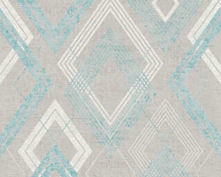 Livingwalls Wallpaper «Graphics, Blue, Grey, Metallic, Turquoise» 360002