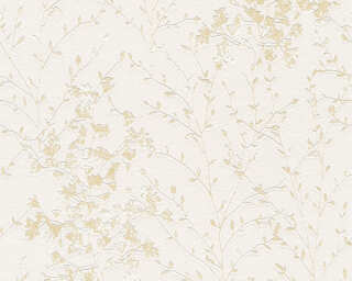 A.S. Création Wallpaper «Cottage, Flowers, Beige, Cream, Metallic, Taupe» 360823
