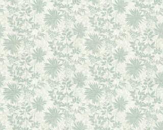 ORIGINALS Обои «Цветы, Белые, Бирюзовые, Зеленые, Металлик» 360843