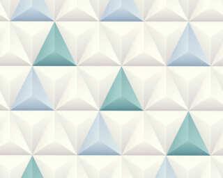 A.S. Création papier peint «Graphique, blanc, bleu, gris» 361862