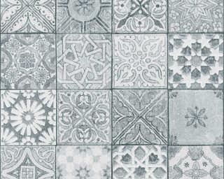A.S. Création papier peint «Tuile, blanc, gris, noir» 362053