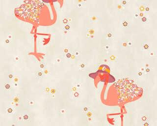Livingwalls Wallpaper «Cottage, Floral, Beige, Orange, Red, Taupe» 362912