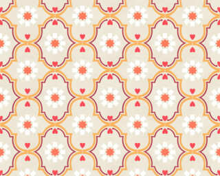 Livingwalls Wallpaper «Cottage, Flowers, Beige, Orange, Red, Taupe» 362972