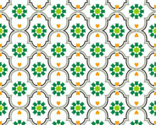 Livingwalls Wallpaper «Cottage, Flowers, Black, Green, Grey, Orange» 362973