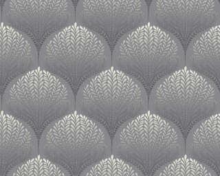 A.S. Création papier peint «Graphique, Floral, beige, blanc, crème, gris» 363101