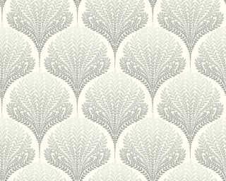 A.S. Création papier peint «Graphique, Floral, beige, blanc, crème, gris» 363102