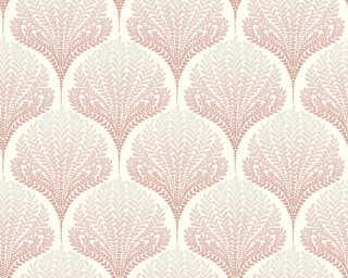 A.S. Création papier peint «Graphique, Floral, beige, blanc, gris, rose» 363104