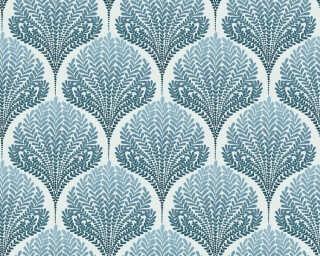 A.S. Création papier peint «Graphique, Floral, beige, blanc, bleu, turquoise» 363105