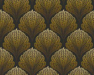 A.S. Création papier peint «Graphique, Floral, jaune, marron, noir, orange» 363106