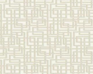 A.S. Création papier peint «Graphique, 3D, argent, beige, blanc, gris» 363123