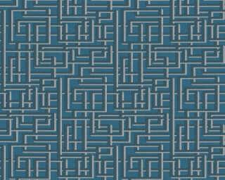 A.S. Création papier peint «Graphique, 3D, argent, bleu, gris, métallique» 363125
