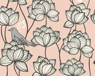 A.S. Création Wallpaper «Flowers, Grey, Pink, White» 363174