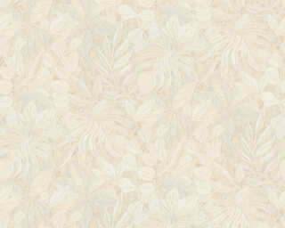 A.S. Création Wallpaper «Flowers, Beige, Cream, Metallic» 363244
