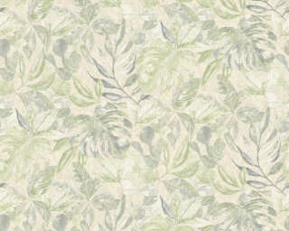 A.S. Création Wallpaper «Flowers, Beige, Cream, Green, Metallic» 363245