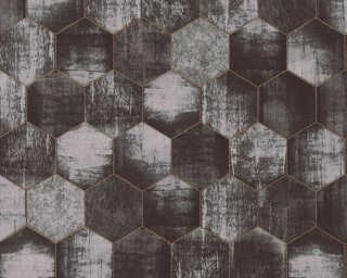 A.S. Création papier peint «Graphique, argent, cuivre, gris, métallique» 363304