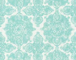 Livingwalls Tapete «Barock, Floral, Blau, Grau, Grün, Silber» 364634