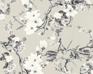 MICHALSKY LIVING Wallpaper «Cottage, Flowers, Beige, Black, Grey, Taupe» 364983