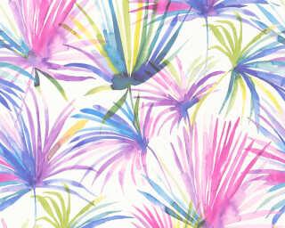 Livingwalls Tapete «Floral, Blau, Bunt, Gelb, Grün» 366243