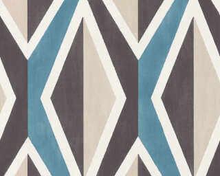 A.S. Création papier peint «Graphique, 3D, beige, blanc, bleu, crème» 366821