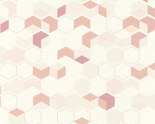A.S. Création papier peint «Graphique, beige, blanc, rose, rouge» 366832