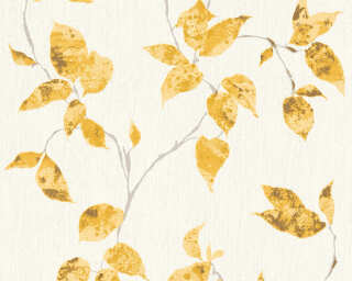 A.S. Création Wallpaper «Cottage, Floral, Gold, Metallic, White, Yellow» 366872
