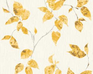A.S. Création papier peint «Maison, Floral, blanc, jaune, métallique, or» 366872