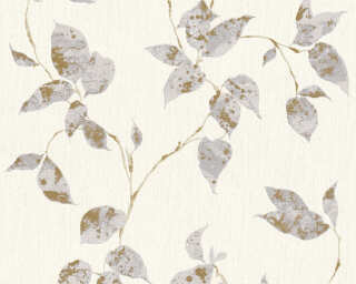 A.S. Création Wallpaper «Cottage, Floral, Grey, Metallic, White» 366873