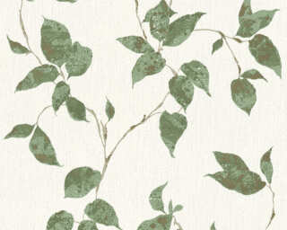 A.S. Création Wallpaper «Cottage, Floral, Green, Metallic, White» 366874
